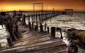 Картинка море, Закат, пирс, штиль