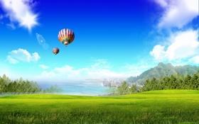 Обои воздушные шары, побережье, набережная, океан, природа, поле, небоскребы