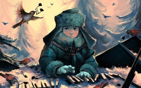 Обои зима, лес, взгляд, птицы, ноты, мальчик, клавиши
