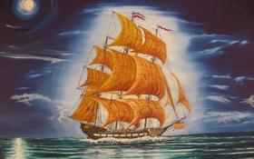 Картинка Летучий голландец, живопись, john, tansey, корабль, картина