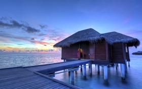 Картинка море, небо, облака, закат, вечер, Мальдивы, мостик