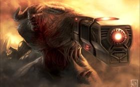 Обои пушка, рога, монстр, клыки, Cyberdemon, кровь, Doom