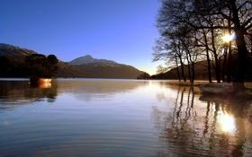 Картинка солнце, деревья, горы, природа, озеро, лодки