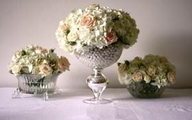 Картинка цветы, красиво, ваза, бусинки