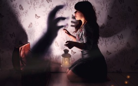Обои девушка, фон, страх, ситуация
