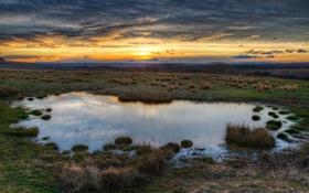 Картинка небо, HDR, долина, лужа