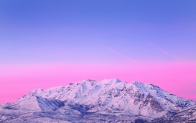 Обои небо, снег, горы, голубое, розовое