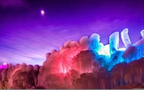 Обои лед, небо, свет, ночь, скалы, краски, Луна