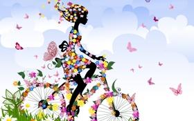 Обои лето, небо, трава, девушка, облака, бабочки, цветы
