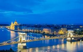 Обои река, Дунай, Будапешт, ночь, Венгрия, огни, мост