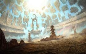 Обои круги, камни, люди, сооружение, арт, части, врата