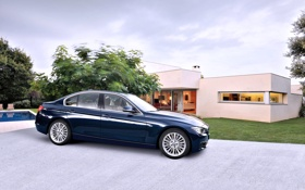 Обои Авто, Синий, BMW, Дом, Машина, день, БМВ