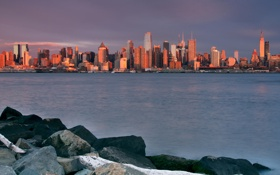 Обои города, небоскрёбы, америка, дома, океан, камни