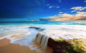 Обои океан, берег, Beach, Water, прилив, Ocean