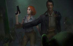 Обои девушка, пистолет, монстры, мужчина