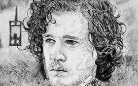 Картинка рисунок, Игра престолов, Джон Сноу, Jon Snow, Kit Harington, Кит Харингтон, A Game of Thrones