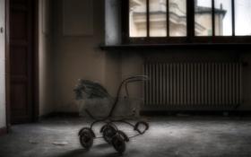 Обои фон, комната, коляска
