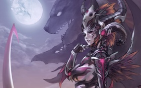 Обои девушка, луна, рога, маг, зверь, art, шаман