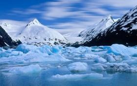 Картинка вода, снег, горы, вершины, ледник, Аляска, Alaska