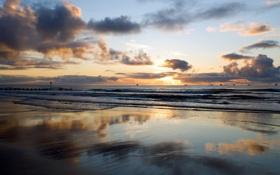 Картинка песок, море, волны, небо, облака, пейзаж, закат