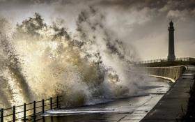 Обои Sunderland, north sea, stormy, Seaburn Promenade, wearmouth, wearside