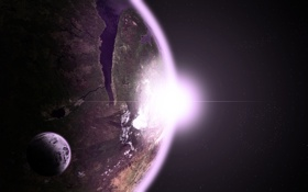 Картинка солнце, звезды, поверхность, восход, ландшафт, луна, планета