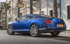 Картинка синий, пальмы, фон, улица, купе, Bentley, Continental