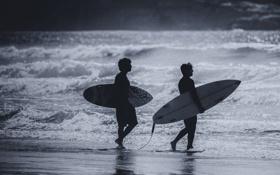 Обои волны, пляж, солнце, отражение, серфер, серфинг, доски для серфинга