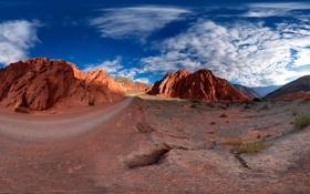 Обои дорога, солнце, скалы, жара, панорама
