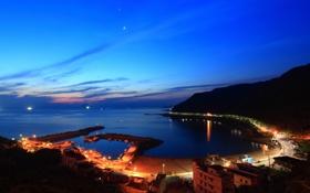 Обои море, пейзаж, ночь, город, залив