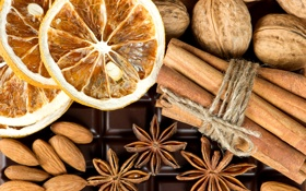 Обои плитка, апельсин, шоколад, палочки, сухой, орехи, корица