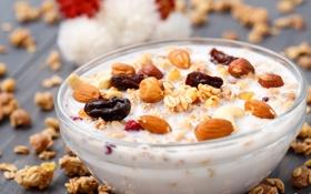 Картинка завтрак, мюсли, орехи, молоко