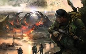 Обои вода, огонь, заводы, вороны, карусель, S.T.A.L.K.E.R, оружие военные