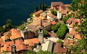 Картинка город, озеро, здания, дома, крыши, Италия, Italy