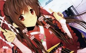 Обои девушка, улыбка, платье, жрица, длинные волосы, hakurei reimu, тохо