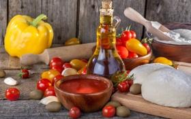 Обои масло, перец, помидоры, оливки, тесто