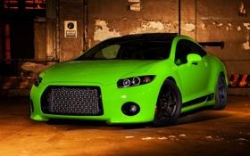 Картинка фон, Mitsubishi, зеленая, Eclipse, митсубиши, еклипсе