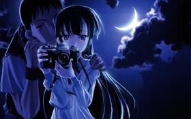 Обои небо, девушка, ночь, арт, фотоаппарат, парень, полумесяц