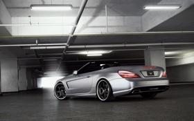 Картинка свет, тюнинг, Mercedes-Benz, гараж, фонари, родстер, мерседес