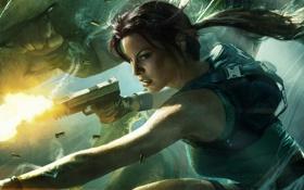 Обои Lara Croft and the Guardian of Light, Девушка, Пистолет, Лара Крофт