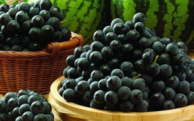 Картинка гроздь, виноград, корзина, арбуз, ягоды