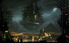 Обои город, будущее, луна, Пирамида, сфинкс