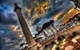 Обои небо, облака, hdr, Рим, Италия, колонна, площадь Венеции