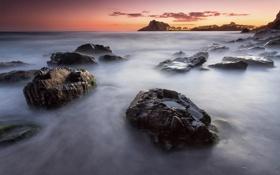Картинка море, скалы, рассвет, берег