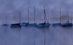 Обои небо, туман, горы, яхта, лодка, озеро