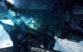 Картинка космос, оружие, корабль, мужчина, броня, Dead Space, Айзек Кларк