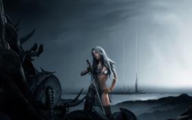 Обои меч, девушка, фентези, миры