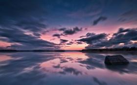 Картинка камни, пейзаж, озеро, вода, вечер, море, цвет