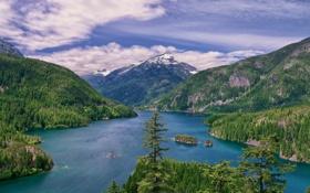 Картинка горы, Вашингтон, Washington, Озеро Дьявола, Diablo Lake