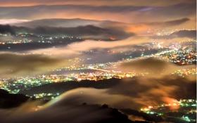 Картинка ночь, город, огни, туман, дымка
